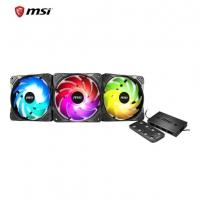 微星(MSI)台式电脑散热静音炫光机箱风扇1670万色ARGB支持同步/PWM智能调速/液压轴承静音 龙魂炫光风扇X3+控制器 云南电脑批发