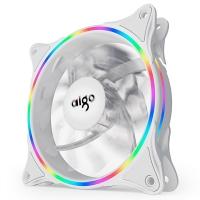 爱国者(aigo)冰魄彩虹V1 白色机箱风扇12cm台式机电脑机箱风扇(支持大4P串联接口/减震脚垫)