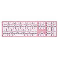 爱国者(aigo) V800樱粉键盘 有线键盘 双系统静音键盘 适配苹果Mac RGB光 超薄铝合金 苹果笔记本电脑 樱粉